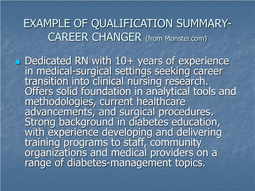 EXAMPLE OF QUALIFICATION SUMMARY-