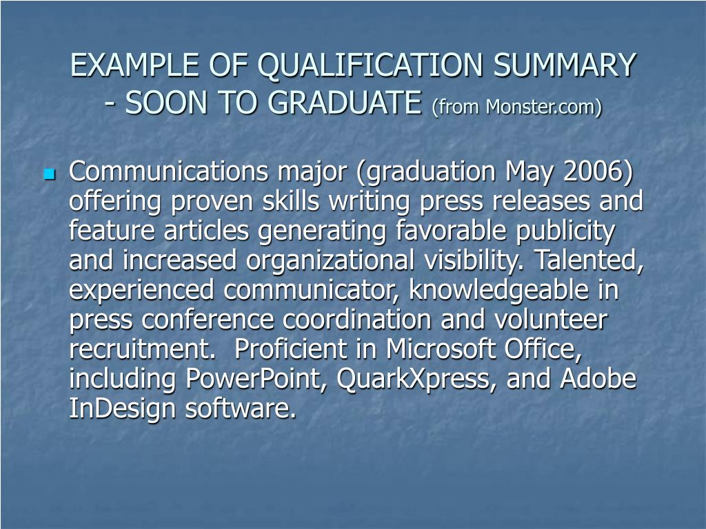 EXAMPLE OF QUALIFICATION SUMMARY