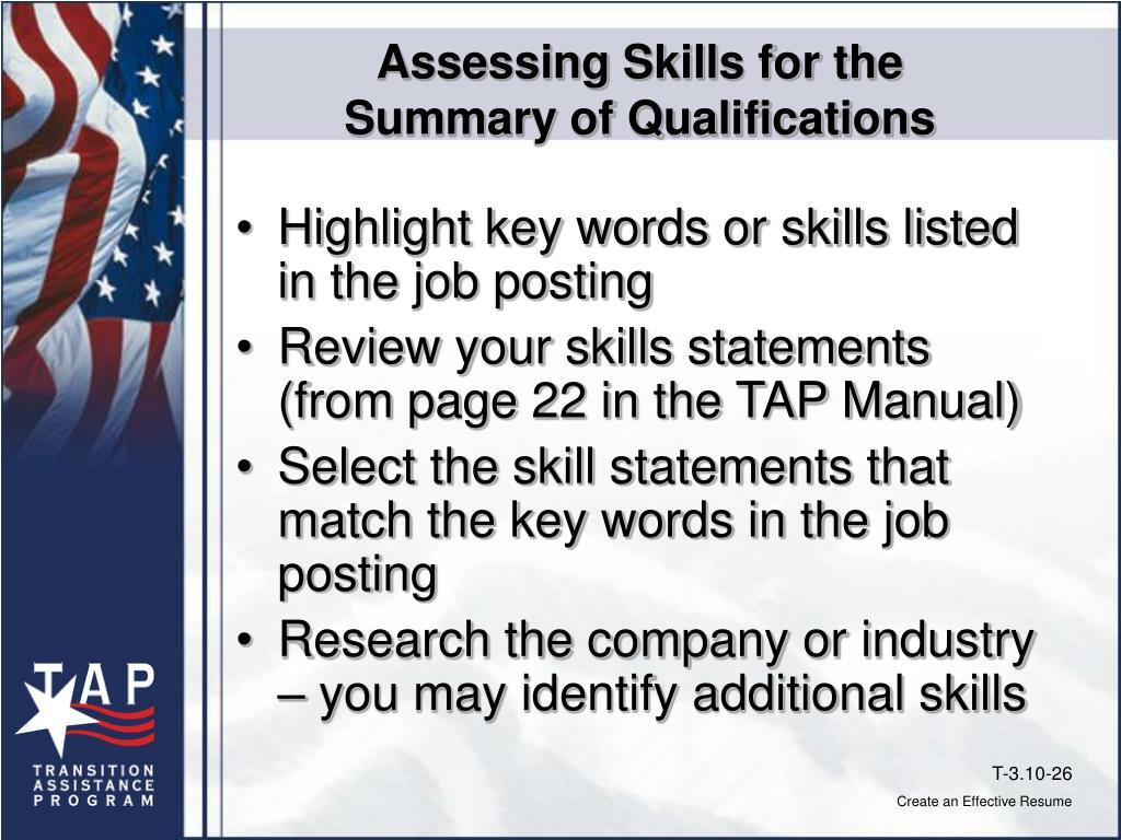 Assessing Skills for the