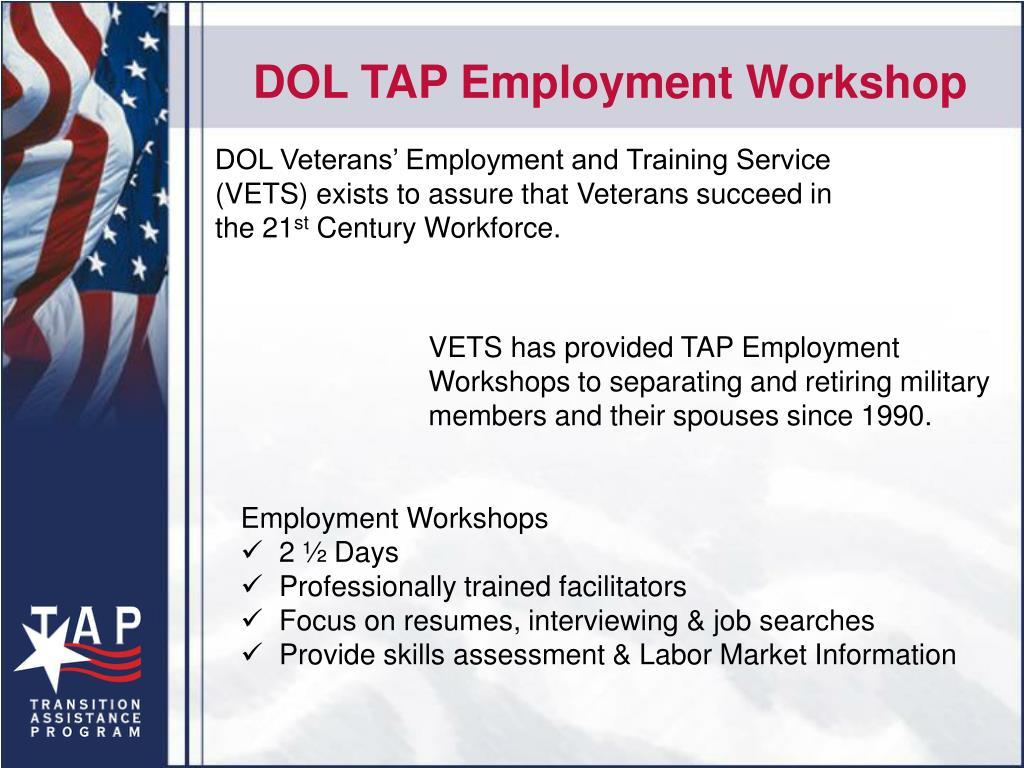 DOL TAP Employment Workshop