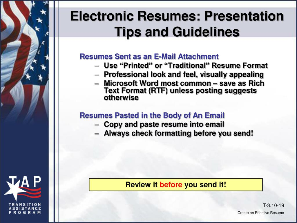 Electronic Resumes: Presentation Tips and Guidelines