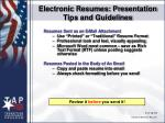 electronic resumes presentation tips and guidelines