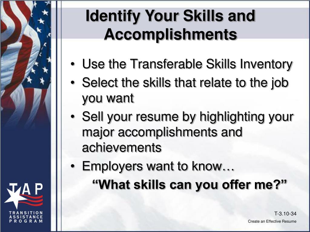 Identify Your Skills and Accomplishments