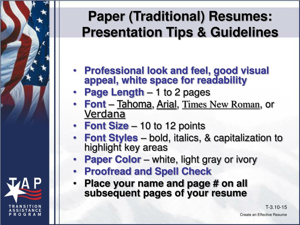 Paper (Traditional) Resumes: