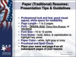 paper traditional resumes presentation tips guidelines