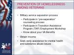 prevention of homelessness among veterans
