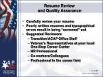 resume review and quality assurance