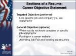 sections of a resume career objective statement