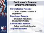 sections of a resume employment history