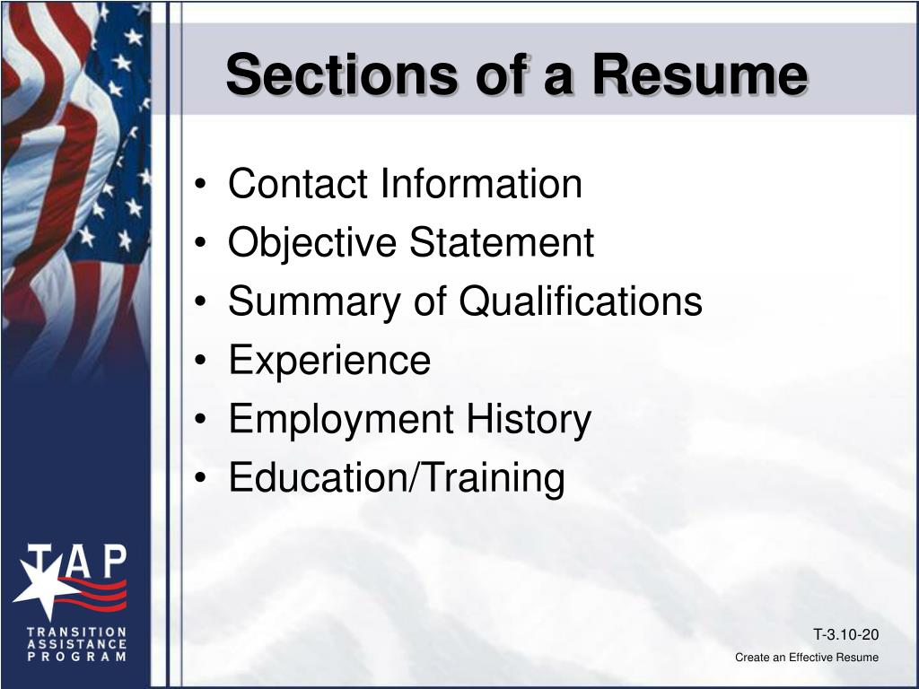 Sections of a Resume