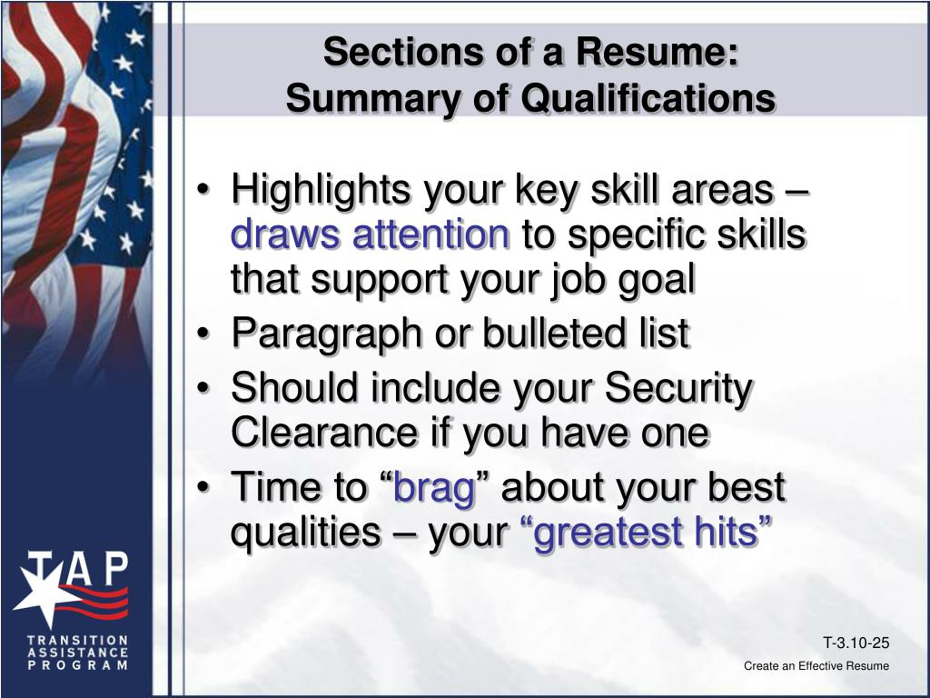 Sections of a Resume: