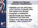 sections of a resume summary of qualifications