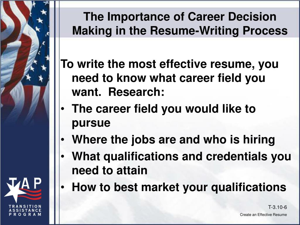 The Importance of Career Decision Making in the Resume-Writing Process