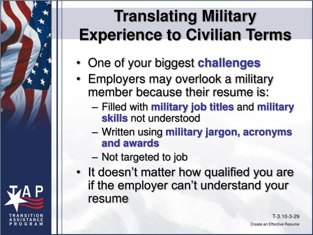 Translating Military
