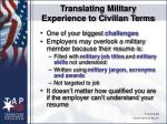translating military experience to civilian terms