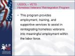 usdol vets homeless veterans reintegration program