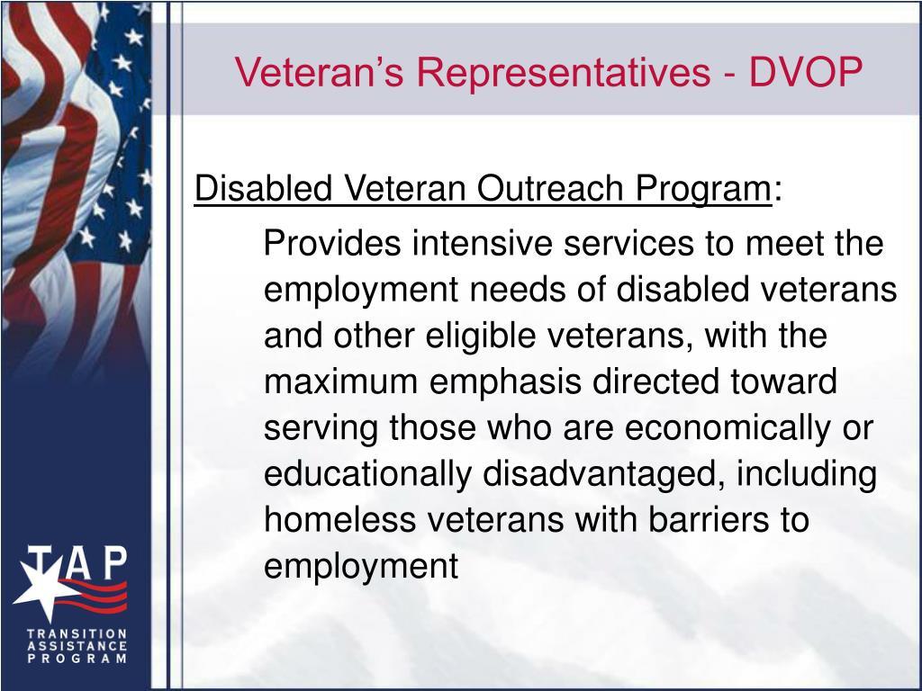 Veteran's Representatives - DVOP