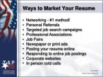 ways to market your resume
