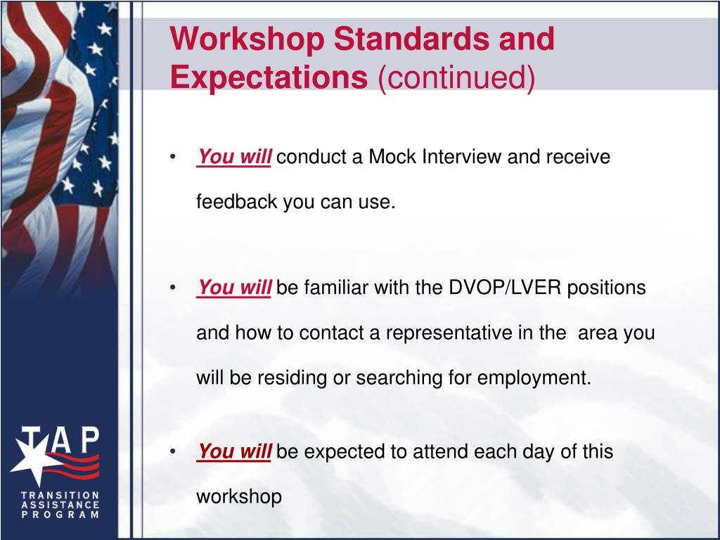 Workshop Standards and Expectations