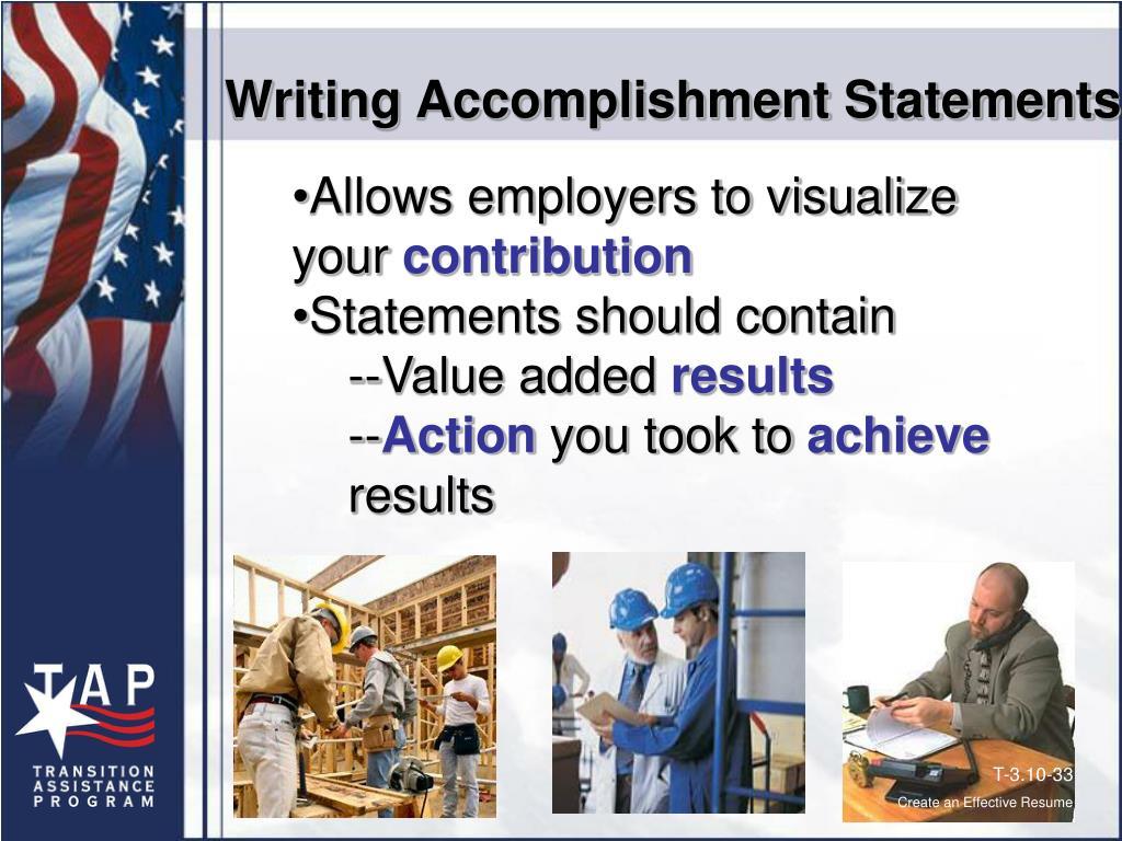 Writing Accomplishment Statements