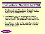 occupational allocation act 2008