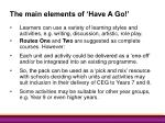 the main elements of have a go34
