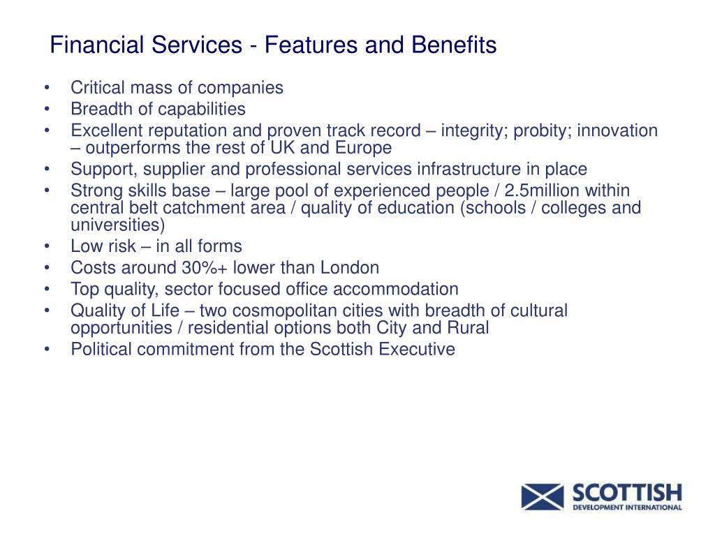Financial Services - Features and Benefits