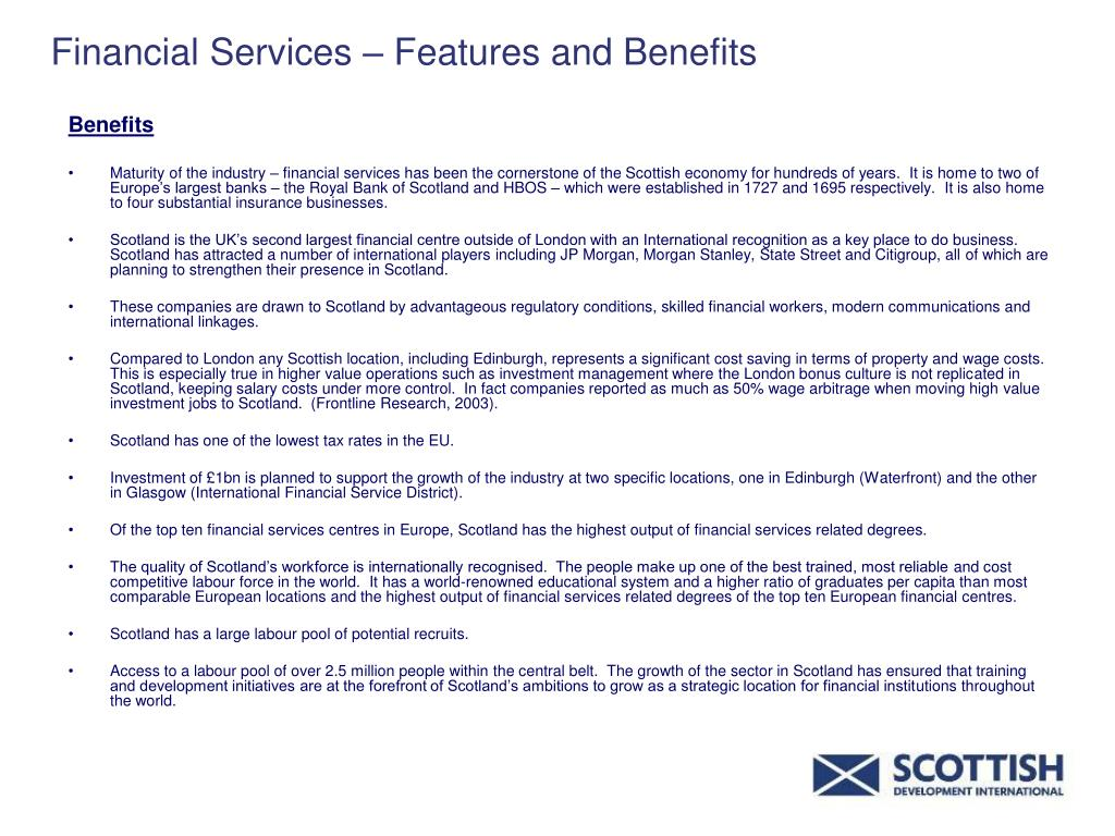 Financial Services – Features and Benefits