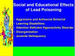 social and educational effects of lead poisoning