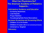 what can physicians do the american academy of pediatrics supports
