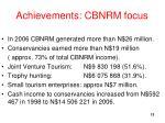 achievements cbnrm focus