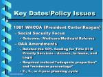 key dates policy issues11