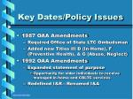 key dates policy issues14