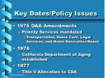 key dates policy issues9