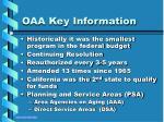 oaa key information
