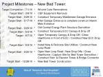 project milestones new bed tower