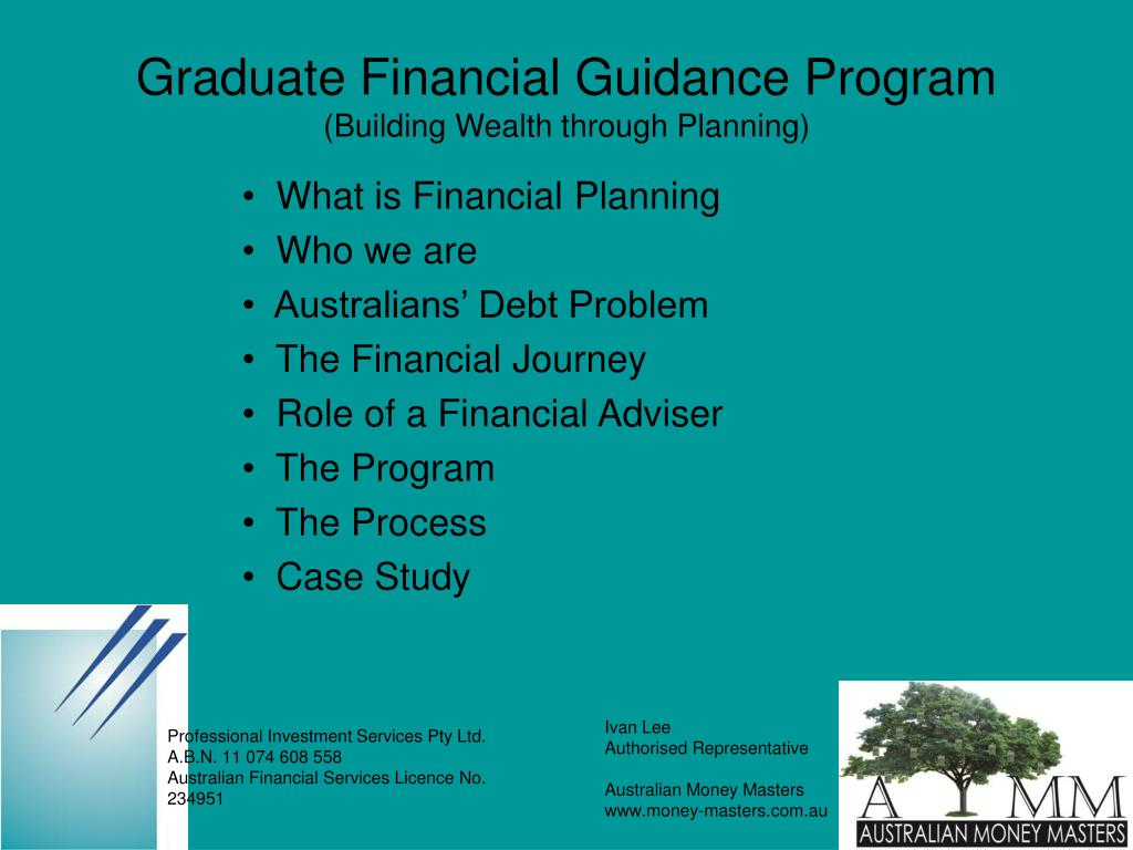 graduate financial guidance program building wealth through planning l.