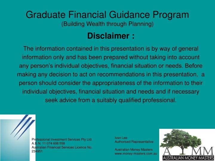 Graduate financial guidance program building wealth through planning2