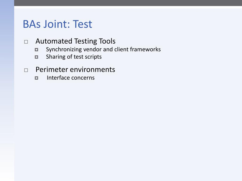 BAs Joint: Test