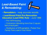 lead based paint remodeling