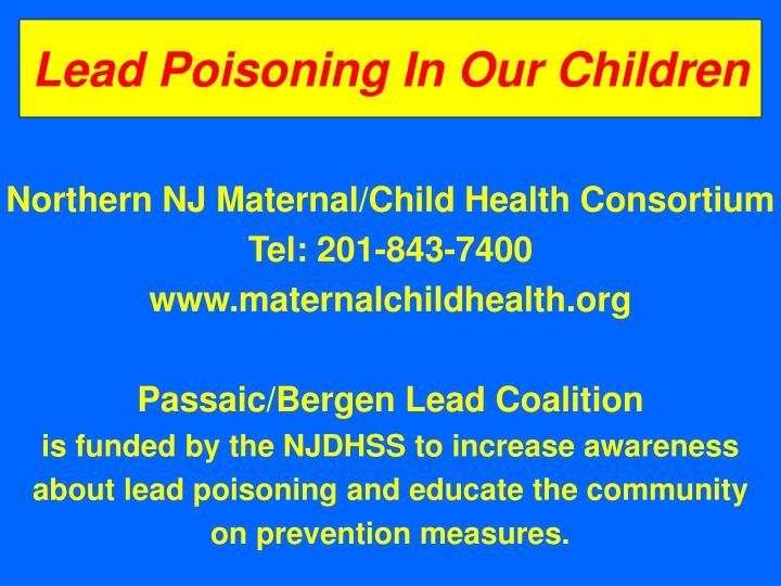 lead poisoning in our children n.