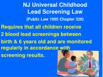 nj universal childhood lead screening law public law 1995 chapter 328