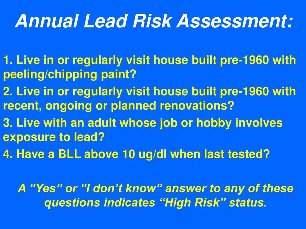 Annual Lead Risk Assessment: