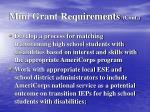 mini grant requirements cont
