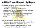 a h s phase i project highlights17