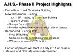 a h s phase ii project highlights