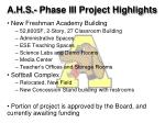 a h s phase iii project highlights