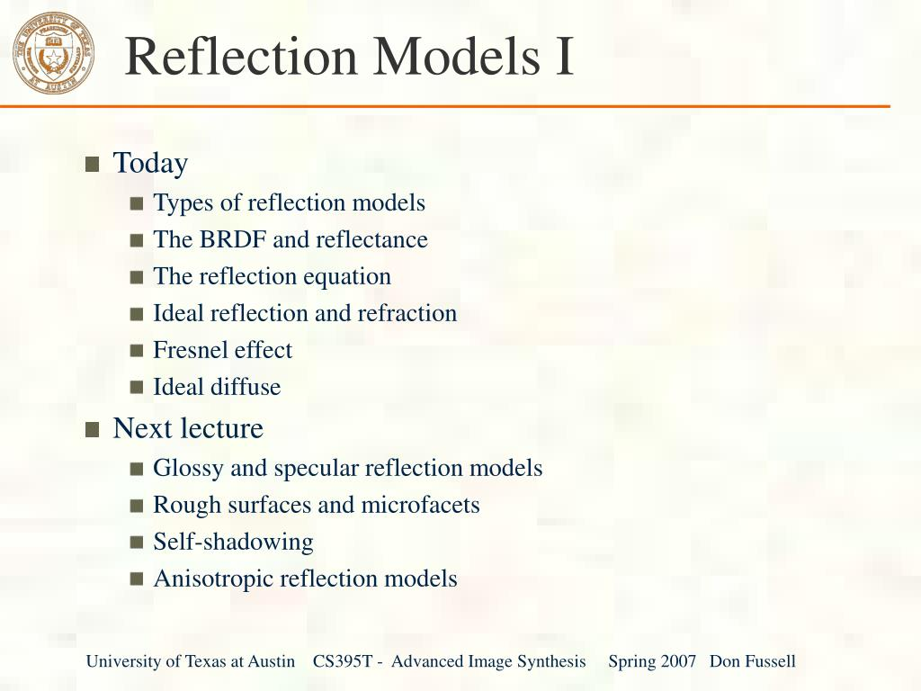 reflection models i l.