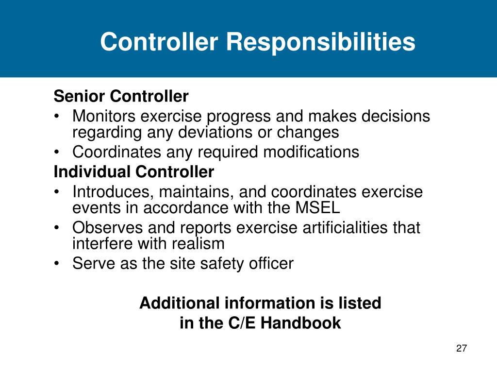 Controller Responsibilities