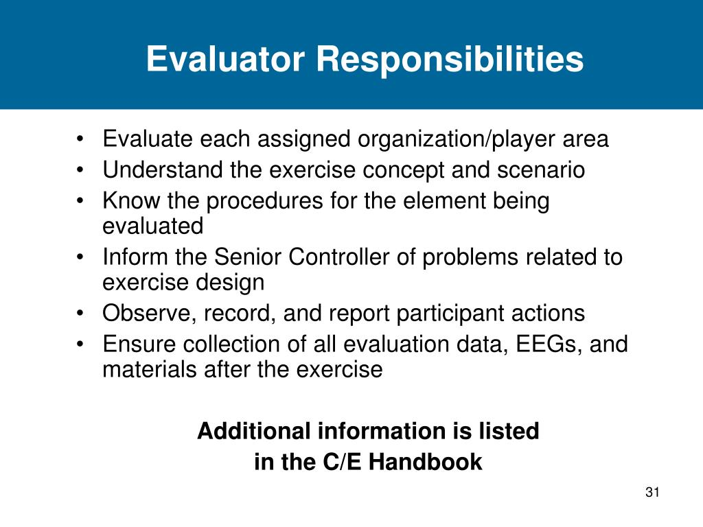 Evaluator Responsibilities